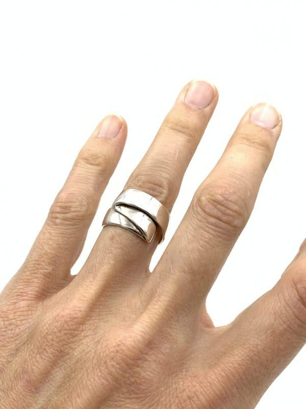 Sterling Silver Folded Ring Size 8 for sale