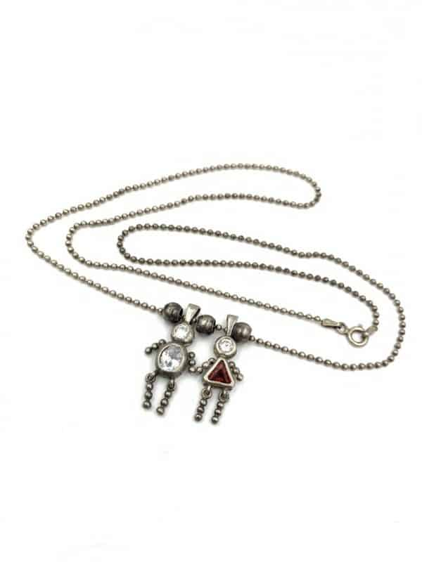 Sterling Silver Birthstone Kid Necklace Two Kids Children for sale