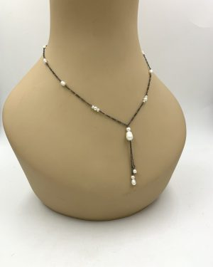 Miriam Haskell Freshwater Pearl Sterling Silver Necklace