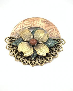 Silver Forest Goldstone Brooch Pin Flower