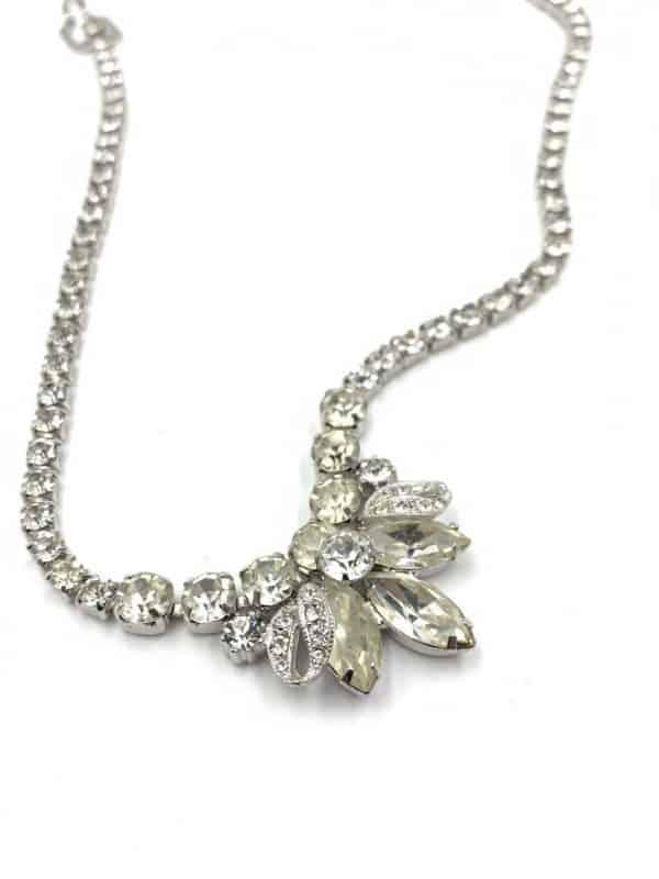 Eisenberg Rhodium Finish Rhinestone Necklace Bracelet Clip Earring Set for sale
