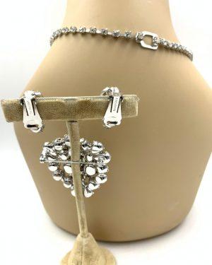 Eisenberg Rhodium Finish Rhinestone Necklace Bracelet Clip Earring Set