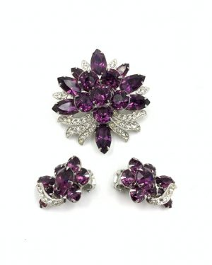 Eisenberg Ice Purple Rhinestone Brooch Pin Clip Earrings Set