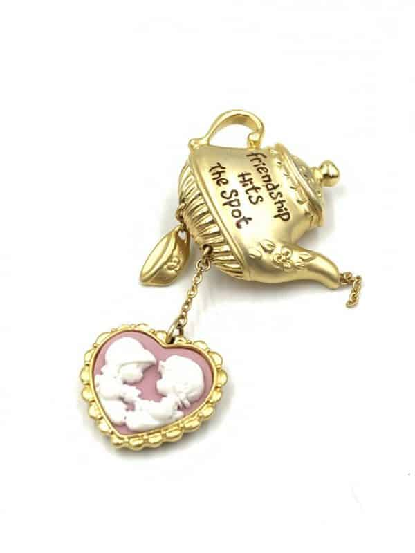 Precious Moments Friendship Cameo Teapot Brooch for sale
