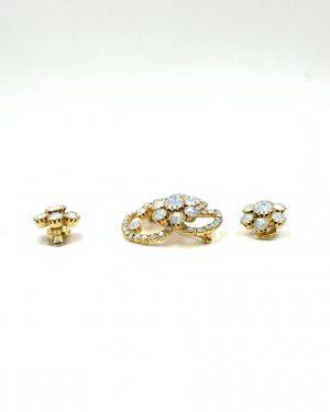 Beautiful Brooch Clip Earrings Aurora Borealis Rhinestone