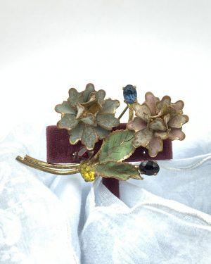 VINTAGE CZECHO Brooch Multi Color Gems Bouquet Pin