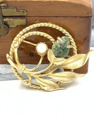 Vintage Floral Garden Rhinestone Jade Brooch Pin