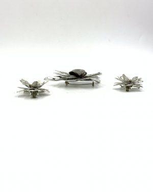 Vintage Flower Brooch Clip Earrings Aurora Borealis Rhinestone