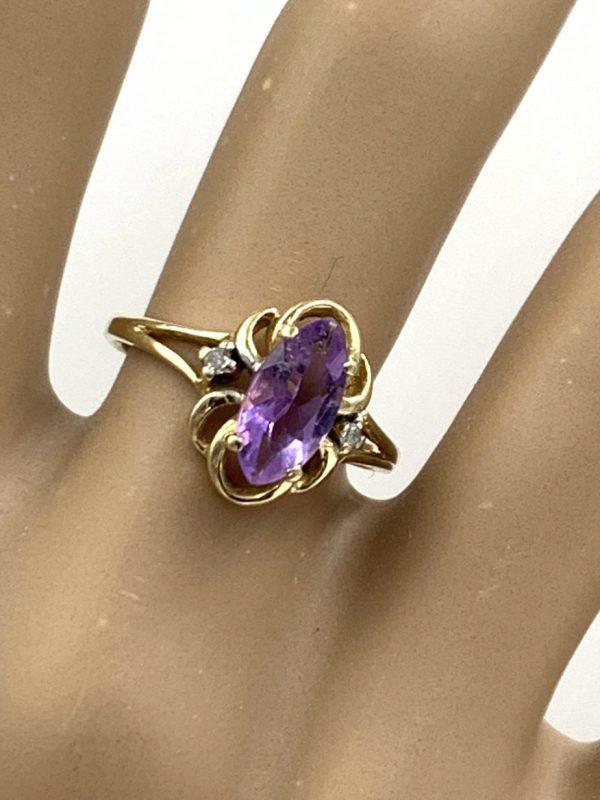 Purple Amethyst Gemstone 10K Yellow Gold Diamond Ring Size 6 for sale
