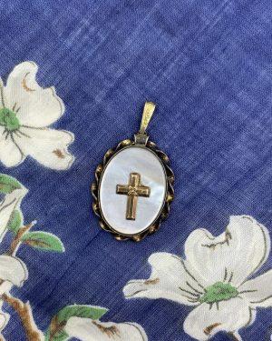 Vintage Signed PR.ST.CO Mother of Pearl Cross Locket