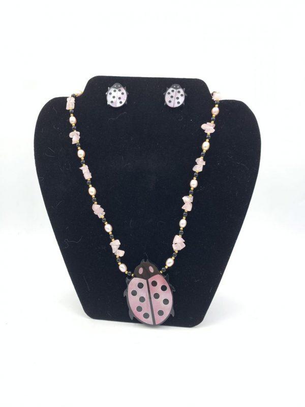 Vintage Lee Sands Ladybug Statement Necklace Earring Jewelry Set for sale