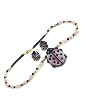 Vintage Lee Sands Ladybug Statement Necklace Earring Jewelry Set