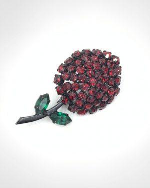 Made In Austria Vintage Japanned Flower Brooch Rhinestones