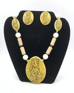 Rare Vintage Lee Sands Leopard Statement Necklace Earring Jewelry Set