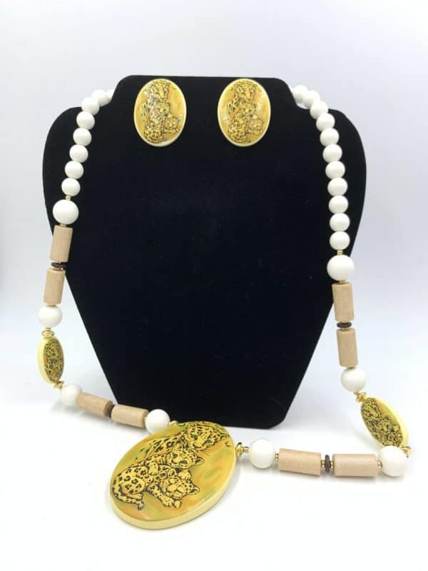 Rare Vintage Lee Sands Leopard Statement Necklace Earring Jewelry Set for sale