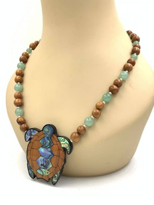 Vintage Lee Sands Turtle Abalone Inlay Sterling Silver Necklace