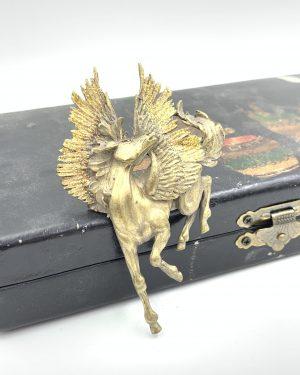 Orange Glitter Enamel Vintage Brooch Mystical Unicorn Brooch