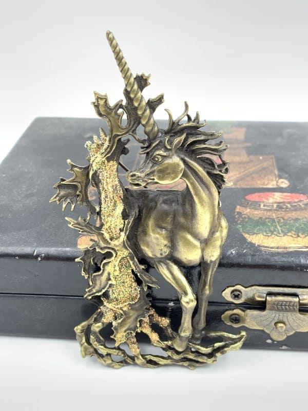 nge Glitter Enamel Vintage Brooch Mystical Unicorn Forest Brooch for sale