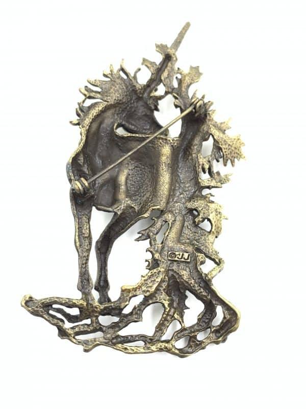 Orange Glitter Enamel Vintage Brooch Mystical Unicorn Forest Brooch for sale