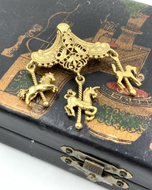 Vintage Gold Plated Carousel Brooch Pin