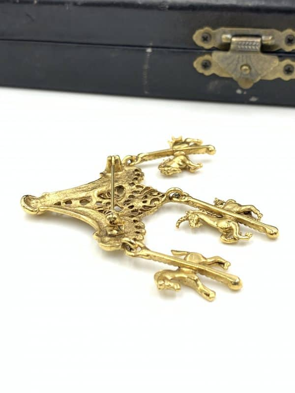 Vintage Gold Plated Carousel Brooch Pin for sale